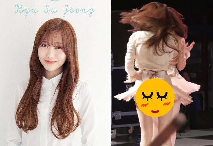 女團Lovelyz成員疑沒穿安全褲,表演時因裙子太短讓翹臀短暫曝光!