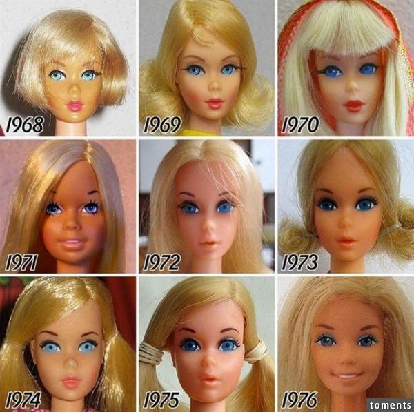 網友收集芭比 看看56年芭比的顏值變化